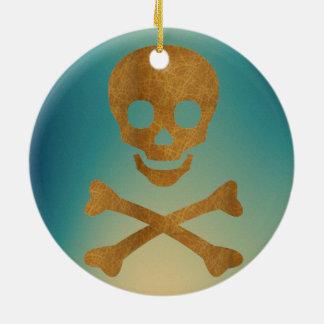 Skull and Bones Round Ceramic Ornament