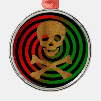 Skull and Bones Silver-Colored Round Ornament