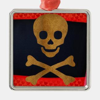 Skull and Bones Silver-Colored Square Ornament
