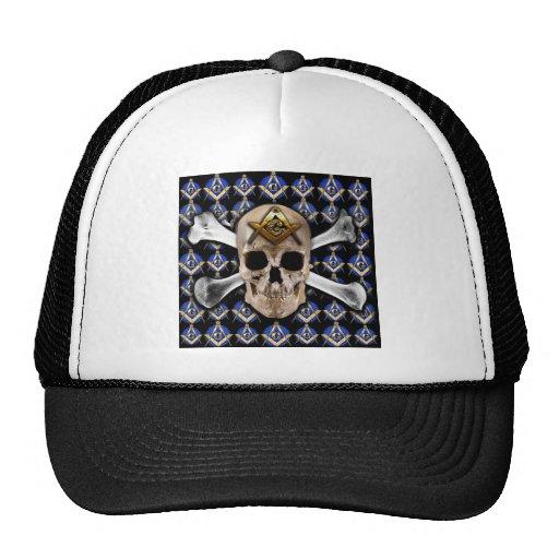 Skull  and Bones Square & Compass Black Trucker Hats