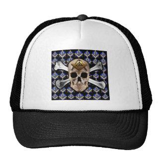Skull  and Bones Square & Compass Black Trucker Hat