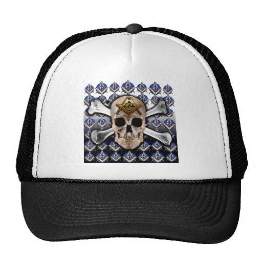 Skull and Bones Square & Compass Black & White Mesh Hat