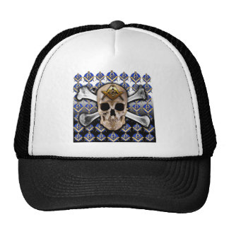 Skull and Bones Square & Compass Black & White Trucker Hat