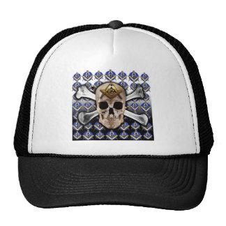 Skull and Bones Square & Compass Black & White Trucker Hat