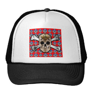 Skull and Bones Square & Compass Bright Red Trucker Hat