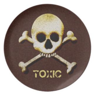 Skull And Bones Toxic Halloween Haunted House Plate