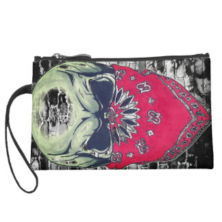 skull and bricks rough girls mini clutch