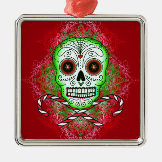 Skull and Candy Canes Square Metal Ornament