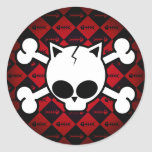 Skull and Cat Bones Round Sticker