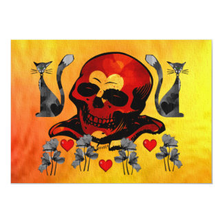 Skull and Cats Custom Invitation