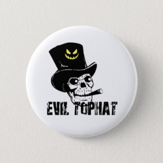 Skull And Cigar Evil Top Hat 2 Inch Round Button