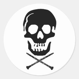 Skull and clarinets - Black on white Classic Round Sticker