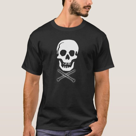 Skull and clarinets - White on Black T-Shirt