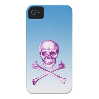 Skull and Cross Bones in Purple iPhone 4 Cases
