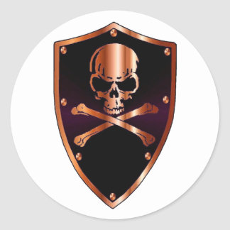 Skull and cross bones shield round sticker