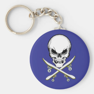 Skull and Cross Skateboards  Keychain
