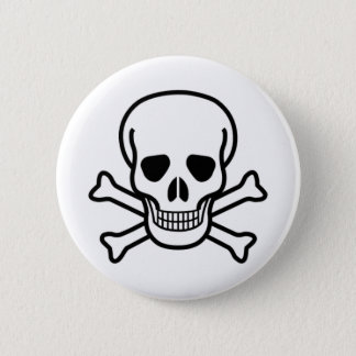 skull and crossbones 2 inch round button