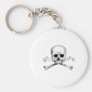 Skull and Crossbones Basic Round Button Keychain