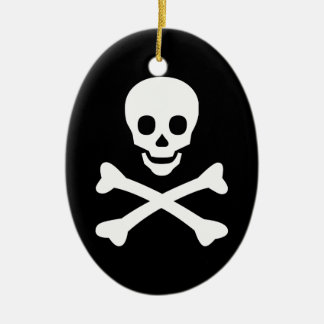 Skull and Crossbones Ceramic Ornament