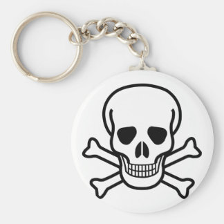 Skull and Crossbones death symbol Basic Round Button Keychain