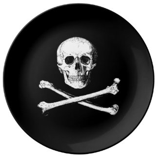 Skull and crossbones decorative plate