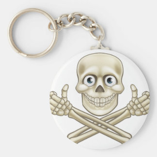 Skull and Crossbones Giving Thumbs Up Basic Round Button Keychain