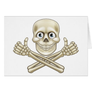 Skull and Crossbones Giving Thumbs Up Card