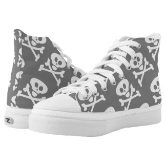 Skull and Crossbones Grey White High Tops