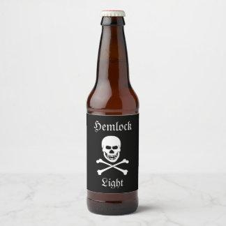 Skull and Crossbones Hemlock Light Halloween Party Beer Bottle Label