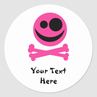 Skull and Crossbones. Hot Pink and Black. Classic Round Sticker