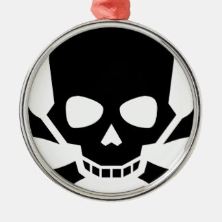 Skull and Crossbones Metal Ornament