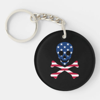 Skull and Crossbones ~ Patriotic Keychain