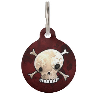 Skull and Crossbones Pet ID Tag