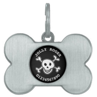 Skull and crossbones pet tags for dog collar