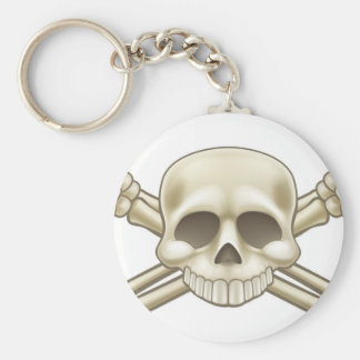 Skull and Crossbones Pirate Sign Basic Round Button Keychain