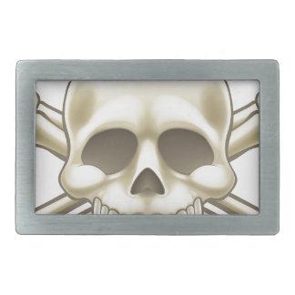 Skull and Crossbones Pirate Sign Rectangular Belt Buckle
