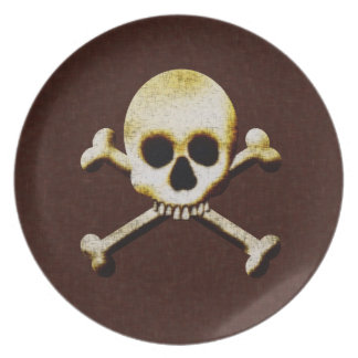 Skull And Crossbones Scary Halloween Haunted House Dinner Plates