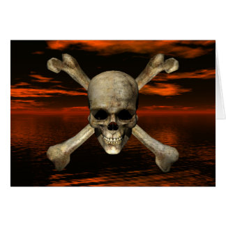 Skull and Crossbones w/Red Sky Background 1 Card