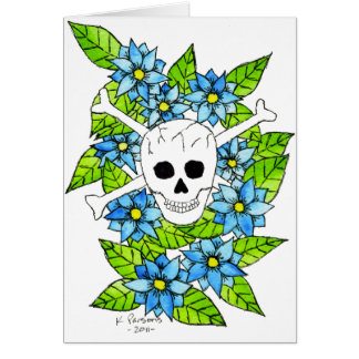 Skull and Crossbones with Flowers Card