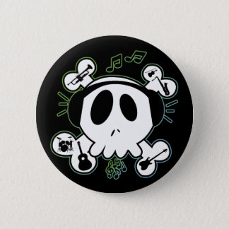 SKULL AND CROSSBONES WITH HEADPHONES 2 INCH ROUND BUTTON