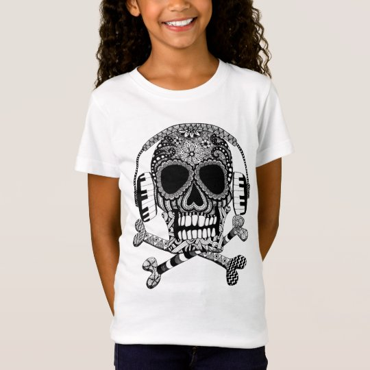 Skull and Crossbones with Headphones Girls Shirt