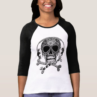 Skull and Crossbones with Headphones Ladies Shirt