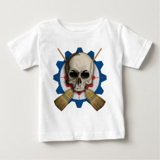 Skull and Crossbrooms - Curling Design Baby T-Shirt