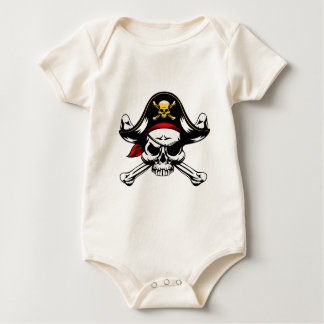 Skull and Crossed Bones Pirate Baby Bodysuit