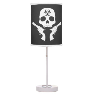 Skull and Crossed Guns Table Lamp