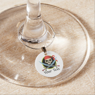 Skull and Crossed Swords - Customizable Wine Glass Charms
