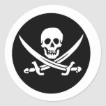 Skull and Crossed Swords Pirate Flag Round Sticker
