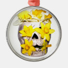 Skull and Daffodils Metal Ornament