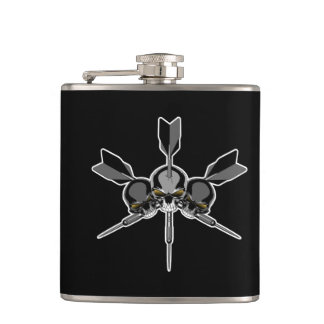 Skull and Darts Hip Flask