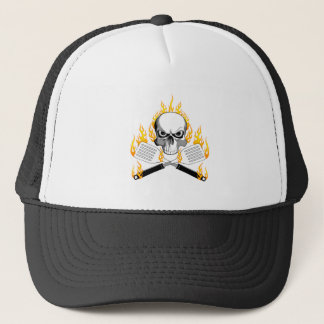 Skull and Flaming Spatulas Trucker Hat